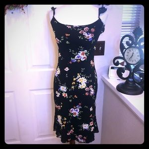 MNG Brand Black Floral Shift Dress Like New